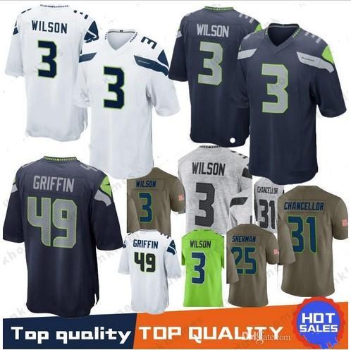 #3 Seattle Seahawks Russell Wilson Football Jersey New