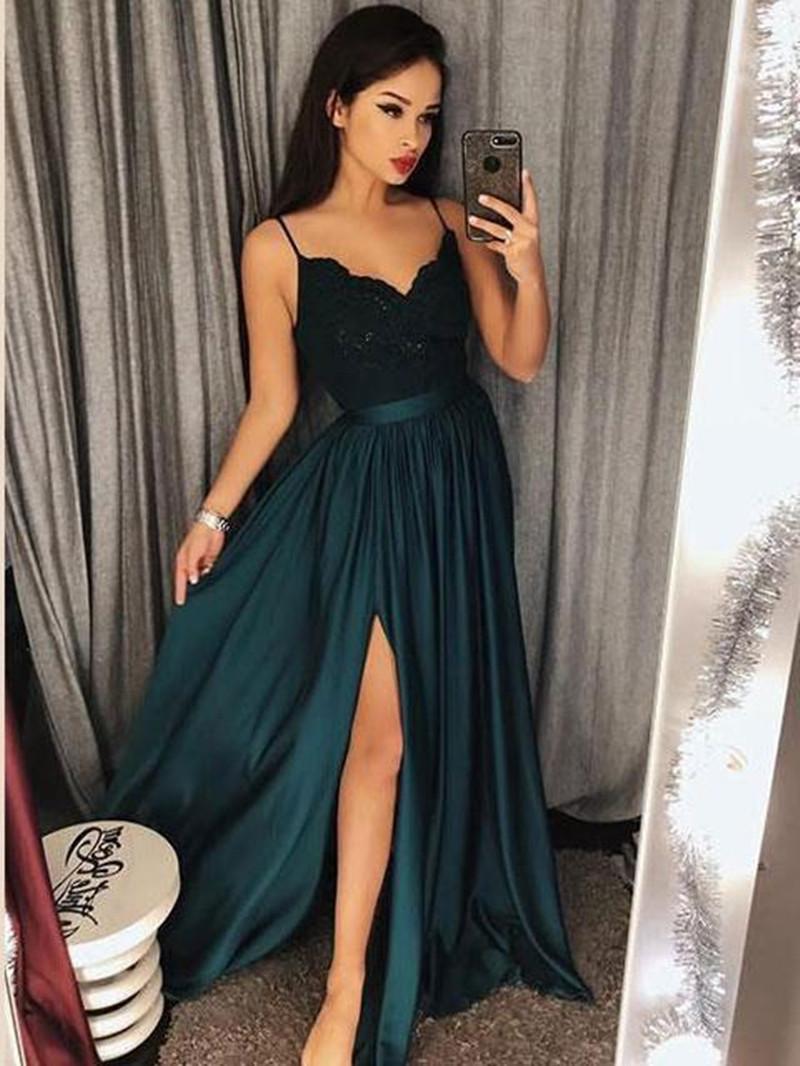 441a8648e9d Sexy Spaghetti Strap Maxi High Split Lace Prom Evening Dress Long Chiffon  Simple Charming Party Dress Size 20 Evening Dresses Stunning Evening Dresses  Uk ...