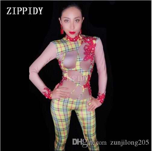 885cd53074 2019 2018 Rhinestones Plaid Pattern Spandex Jumpsuit Bar Nightclub Women  Singer Dance Show Bodysuit Leggings Wear Birthday Outfit From Zunjilong205