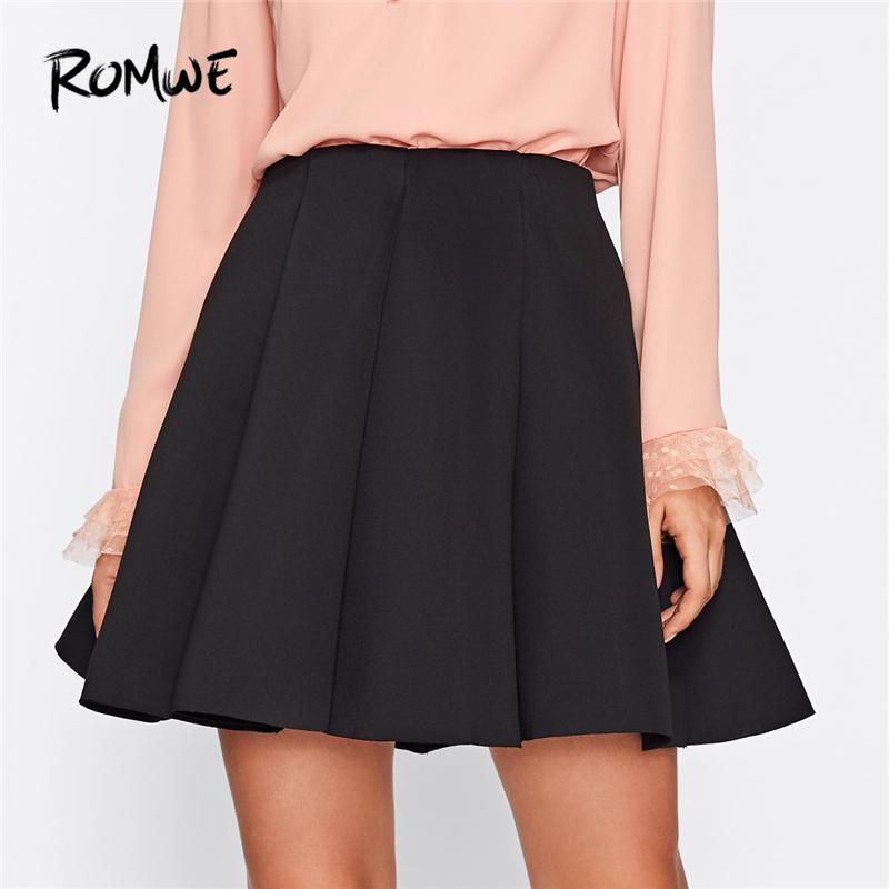 18c4079c1b 2019 Black Plain Box Pleated Womens Casual Skirt Summer Mid Waist Spring  Autumn Female Above Knee Short Fit And Flare Skirt From Kimono, $43.08 |  DHgate.Com
