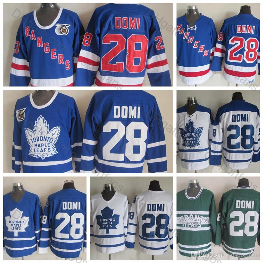 Top Quality Toronto Maple Leafs #28 Tie Domi Jerseys 2002 CCM Vintage 28 Tie Domi Hockey Jersey New York Rangers Stitched 75th Patch