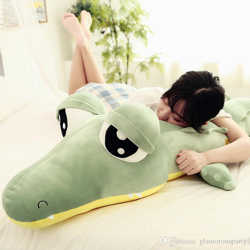 Kawaii Soft Cartoon Crocodile Plush Toy Giant Green Alligator Big Eyes Toys for Children Gift 190cm 75inch