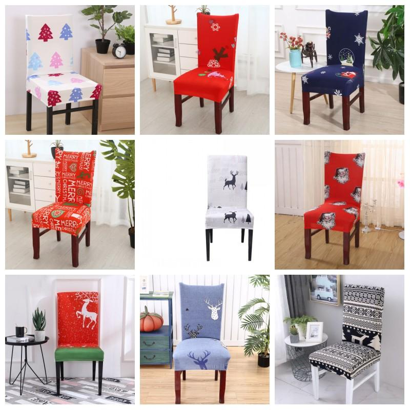 Modern Household Antifouling Christmas Seat Covers Santa Claus Elk Printing Elastic Removable Chair Sleeve Party Wedding Decoration 10xz H1