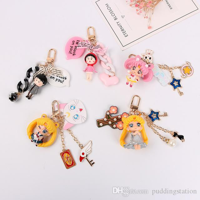 2019 New Popular Cute Keychain Water Moon Beautiful Girl Warrior Lovely 3D Doll Key Chain Accessories Cartoon Hot For Girl