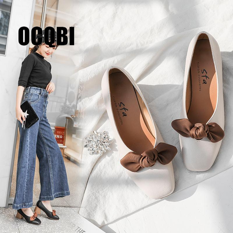 962b58de6ee Dress 2019 Autumn Sweet High Heels Pumps Shoes Thick Heel Pointed Toe Bow  Patent Leather Girl Shoes Elegant Female Low Heels Shoes Fashion Shoes  Cheap Shoes ...