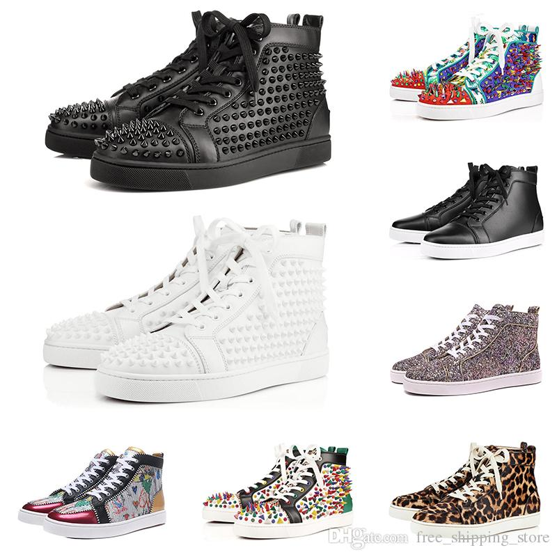 88c0bd07d95b13 2019 Designer Fashion Red Bottoms Shoes Studded Spikes Flat Sneakers For Men  Women Glitter Party Lovers Genuine Leather Casual Rivet Sneaker Comfort  Shoes ...