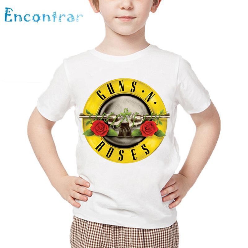 2019 Size3t 9t Kids Rock Band Gun N Roses Print T Shirt Children