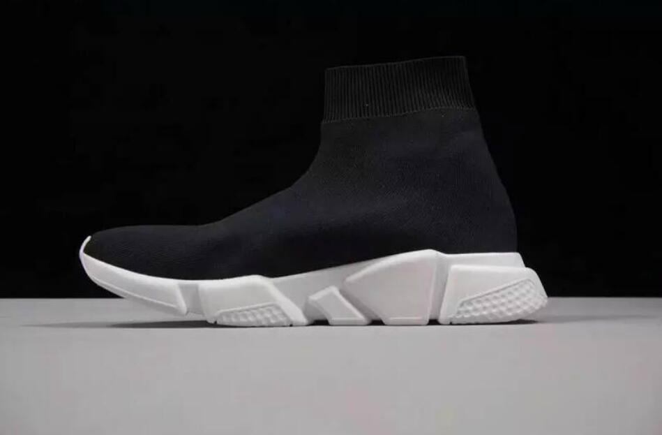 7a9f9a83fb1c7 HOT SALE Designer Speed Trainer Stretch Knit Mid Black White Fashion Top  Sneakers Breathable Socks Shoes Men And Women Casual Shoes 35 46 Wedges  Shoes Black ...