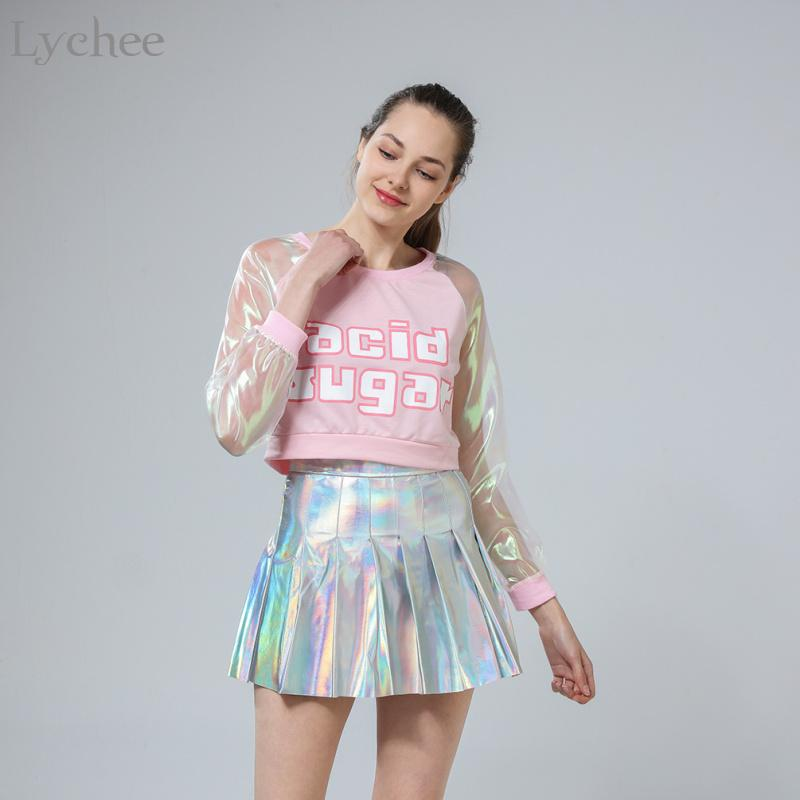 76e2b080654 Lychee Spring Autumn Harajuku Japanese Style Women T Shirt Laser Transparent  Long Sleeve Patchwork Crop Top Q190429 T Shirt With Shirt Moto Shirts From  ...