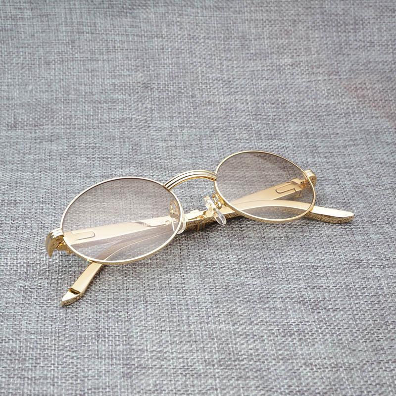 285cef3317 Compre Gafas De Sol Redondas De Acero Inoxidable De Lujo Para Hombre  Vintage Gafas De Sol Doradas Sombras Gafas Transparentes Marco Dorado Gafas  Gafas ...