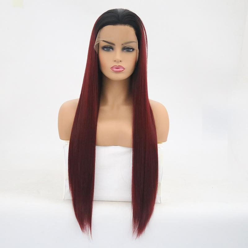 Hot! 26 Inch KaneKalon Futura Middle Part Long Straight Lace Front Hair Wigs Black Ombre Bug Synthetic Lace Front Wig For Women