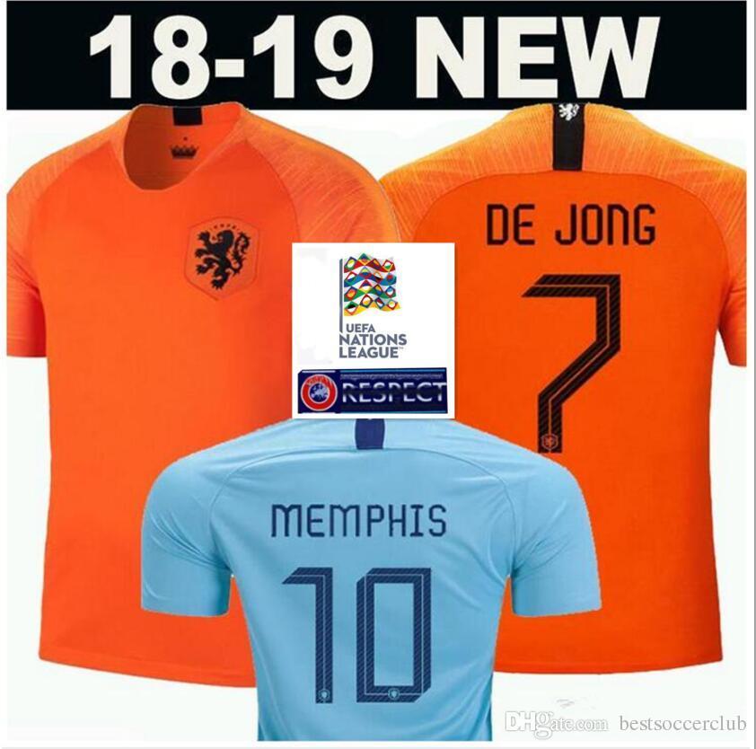 407a0e37dc158 Compre 2019 20 Holland Casa Camisa De Futebol 18 19 Holanda # 9 V.PERSIE #  7 MEMPHIS Camisas De Futebol Away Blue # 10 SNEIJDER # 11 ROBBEN Uniforme  De ...