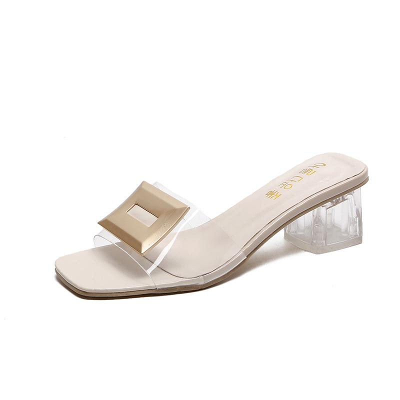 1998fd05424 Summer Transparent Slippers Mules Slides Women Shoes Metal Buckle Peep Toe  Square High Heels Clear Slippers Ladies Shoes Woman