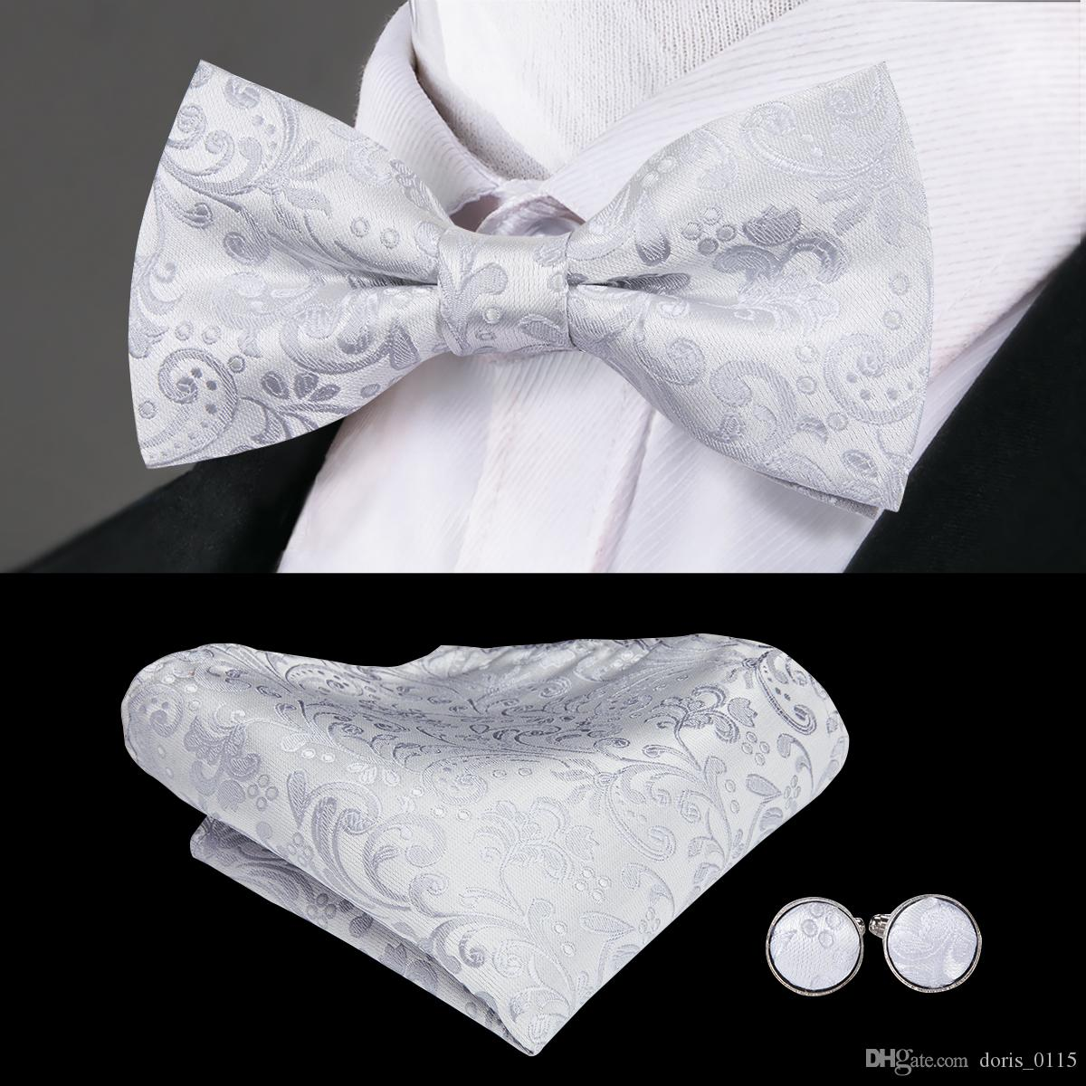 97662426343a Hi Tie White Floral Bow Tie For Men Luxury Style Neck Wear Silk Jacquard  Woven Hanky Cufflinks Set For Wedding Party LH 791 Grey Tie Burgundy Tie  From ...