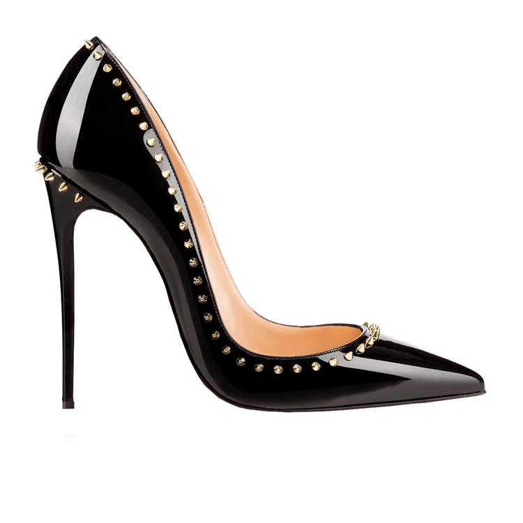 cd3a88f31b0 2019 ZK women's sexy fashion high heels 12cm rivets shoes red bottom thin  heels fashion pumps shoes chinese size 34--46