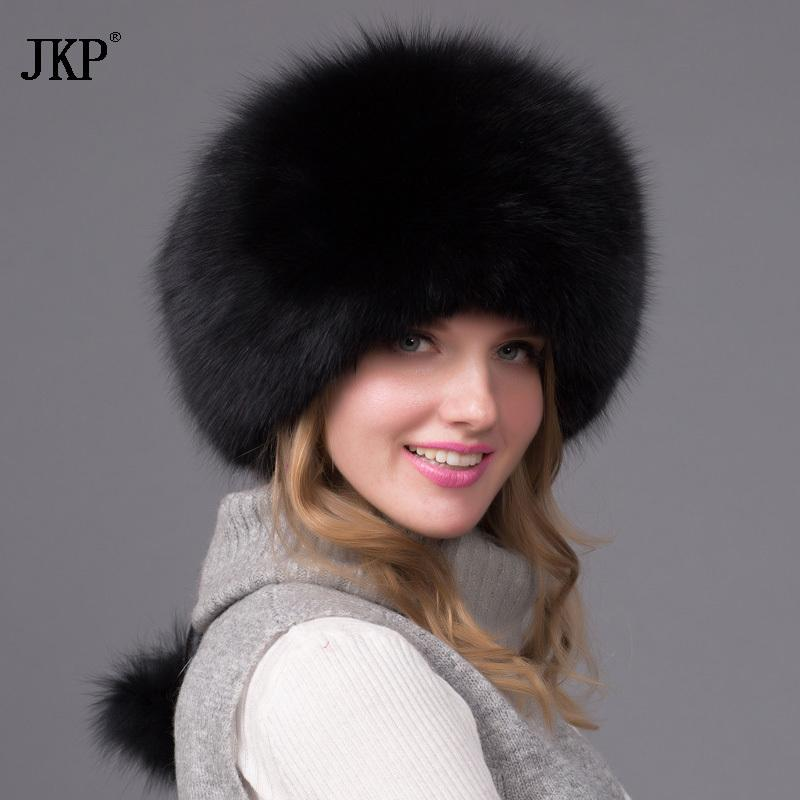 84248cd524c Genuine Natural Fox Fur Hat Women Cap Thick Fur Cap Winter Warm Hat Female  Fashion For Women Hat With Earmuffs D19011503 Snapback Caps Baby Hats From  ...