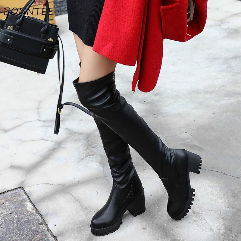 770238fe4 Boots Women PU Leather Over Knee Long Boot Fashion High Heel Korean Elegant  Warm Womens Platform Shoes High Quality Waterproof Cheap Cowgirl Boots Mens  ...