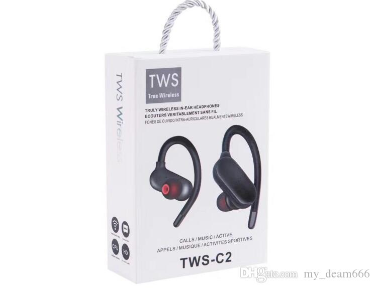 TWS-C2 Wireless Earphone 5.0 bluetooth sport auricolare cuffia wirelss vendita calda Blutooth per iphone samsung huawei i12 i60 i80