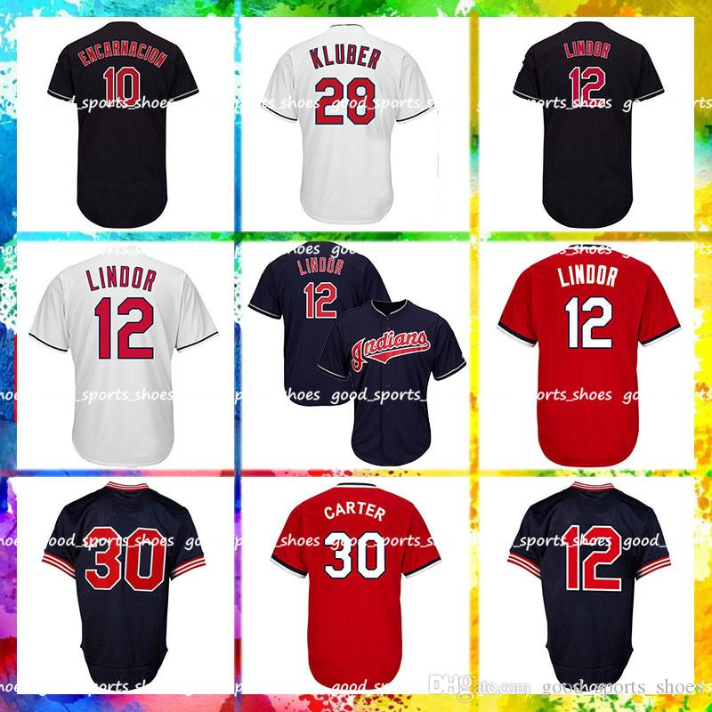 buy popular b7f51 6101d Cleveland Indians 12 Francisco Lindor Jersey 28 Corey Kluber 30 Joe Carter  10 Edwin Encarnacion