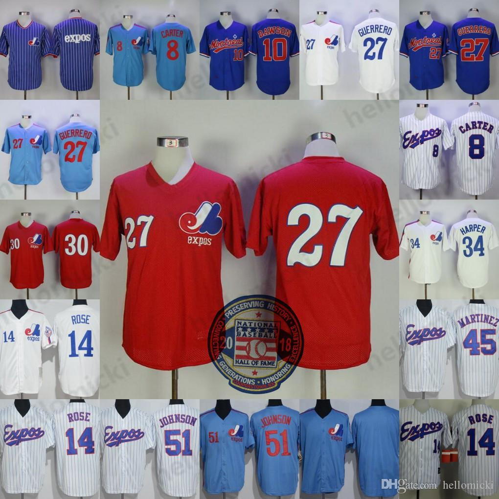online store fbdd5 dbf0a Montreal Expos 8 Gary Carter 45 Pedro Martinez Vintage Jersey 30 Tim Raines  Retro Men's jersey 34 BryceHarper 27 Vladimir Guerrero