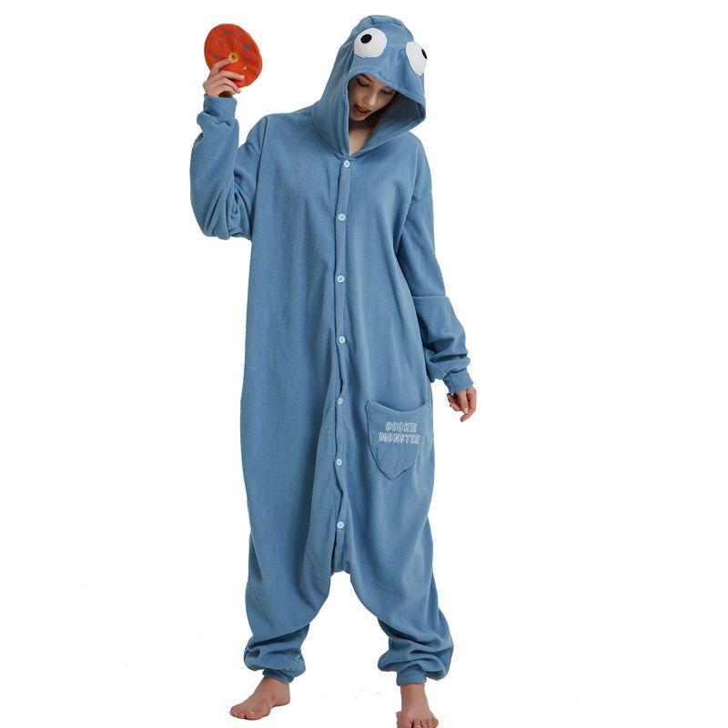 00d6c9b9 2019 Cookie Monster Kigurumi Cartoon Onesie Jumpsuit Adult Sesame Street  Pajamas For Women Sleepwear Pyjamas Cosplay Halloween Party From Home5, ...