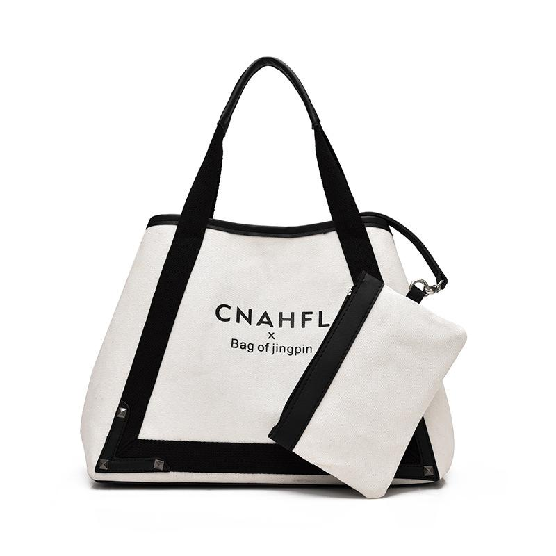 W&M Tote Bag Shopping Add Your Text Print Original Design White Zipper  Unisex Fashion Travel Canvas Bags