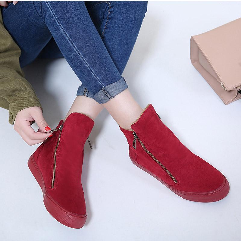 d4dc376b Compre Botas De Invierno De Las Mujeres Botines Femeninos Cremallera Flock  Plataforma Bota De Nieve Señoras Zapatillas De Deporte Felices Zapatos  Planos ...