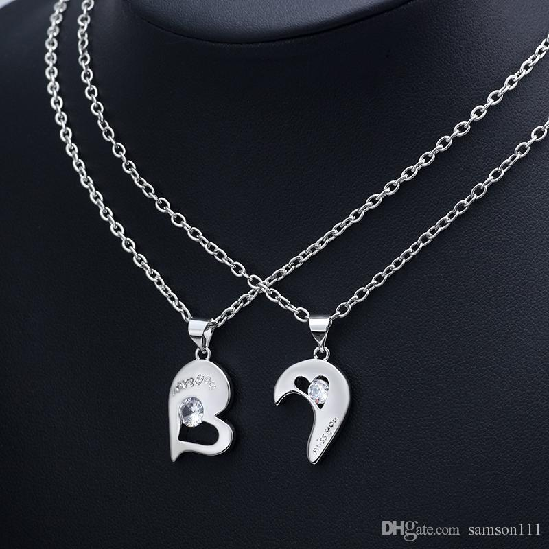 New 2 Pcs/Set Heart Shape Necklace For Couples Hollow Out Crystal Silver Long Chain Lover Forever Romantic Wedding Jewelry Gifts