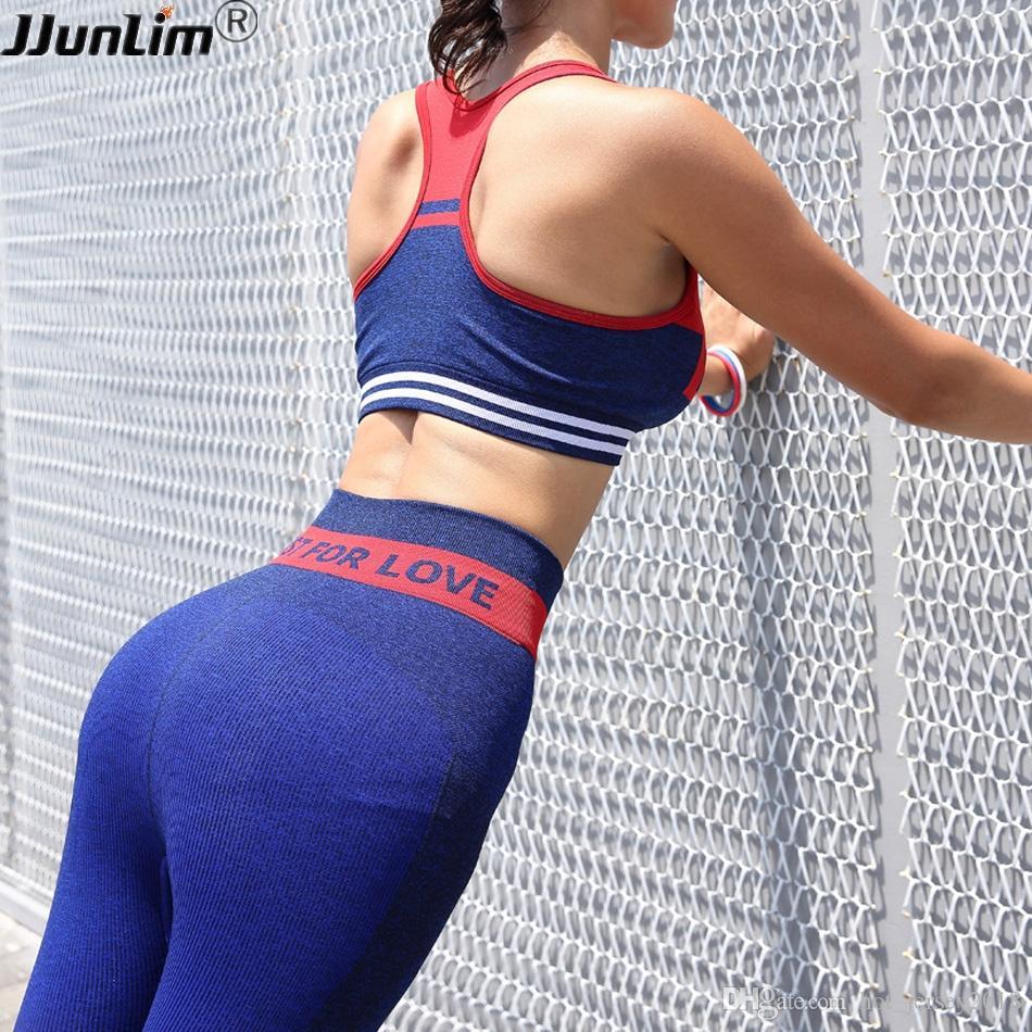 37afeef04 Compre Mulheres Yoga Conjunto Sem Costura Leggings Sutiã Esportivo Conjunto  De Fitness Mulheres Push Up Calças Esportivas Correndo Calça Ginásio TOP ...