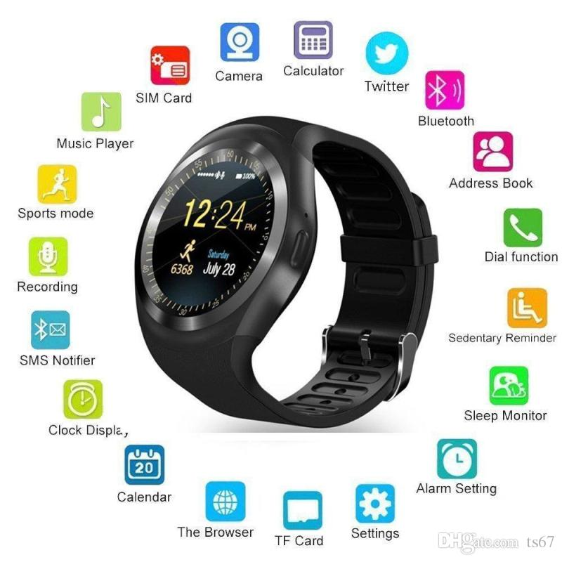 Smart Bracelet Y1 Bluetooth Smart Watch Pedometer Sports Fitness Tracker Support Sim Card Watch Andriod Health Watch