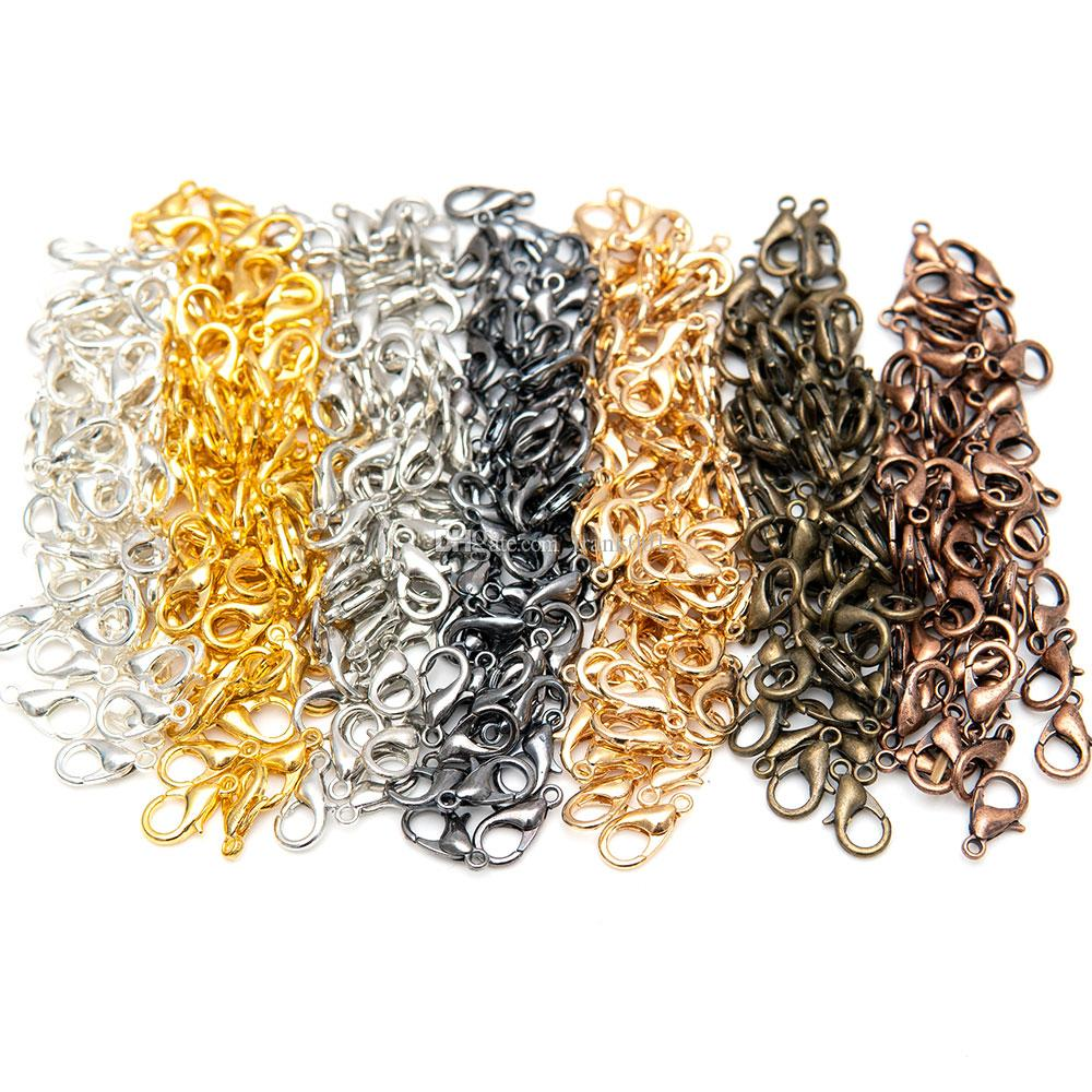 100Pcs/lot Zinc Alloy Lobster Claw Clasps for DIY Jewelry Necklaces Bracelet Making, Nickel Free ship (12x7mm)