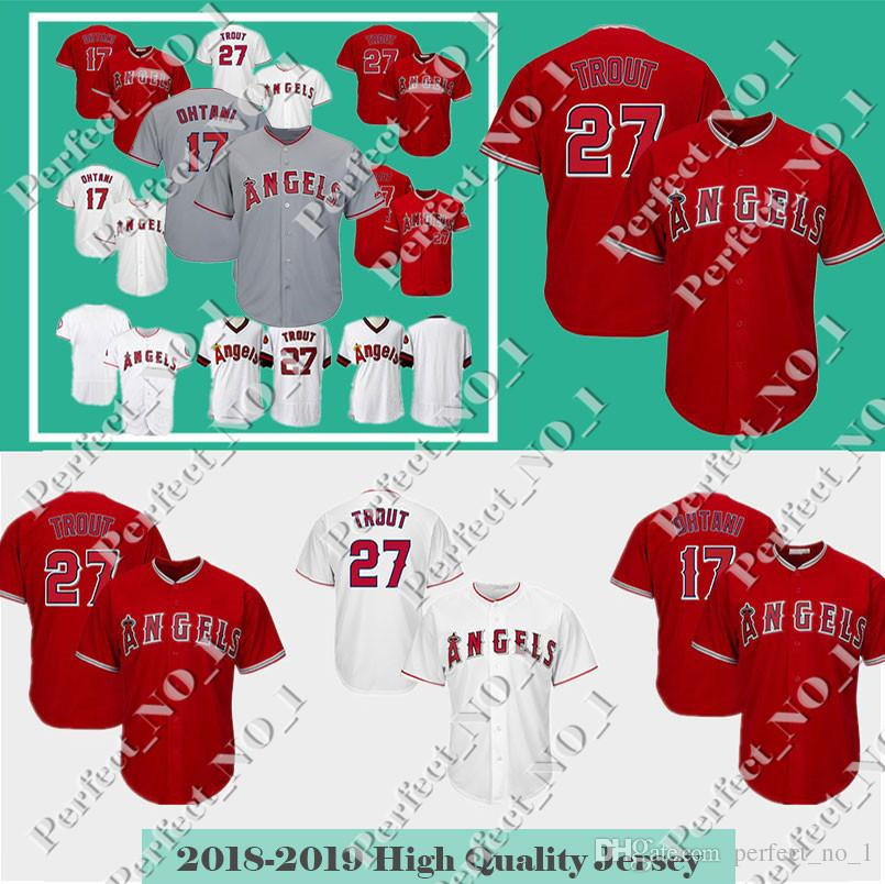 huge discount 21a71 93236 Men s Los Angeles 17 Shohei Ohtani Jersey Angels 27 Mike Trout Baseball  Jerseys Cool Base Stitched jerseys Cheap Sale