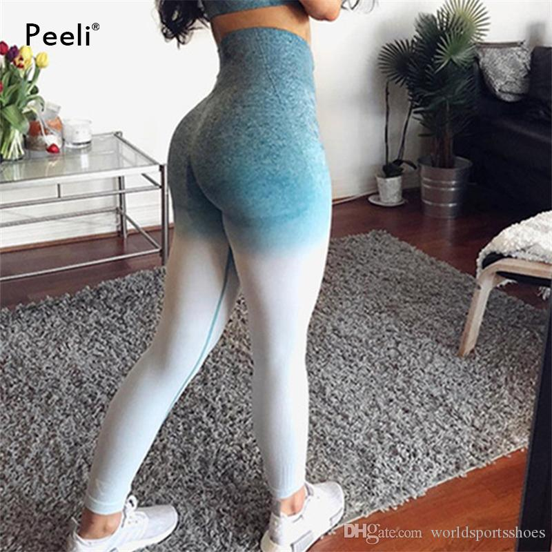 db3e2865e30d8 2019 Peeli Booty Energy Seamless Leggings High Waist Yoga Pants Stretchy Tummy  Control Gym Tights Running Leggins Sport Fitness Women #73552 From ...