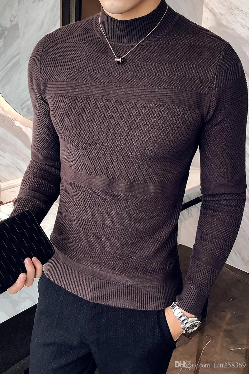 2019 2018 New Winter Half Neck Sweater Mens Trend Korean Youth