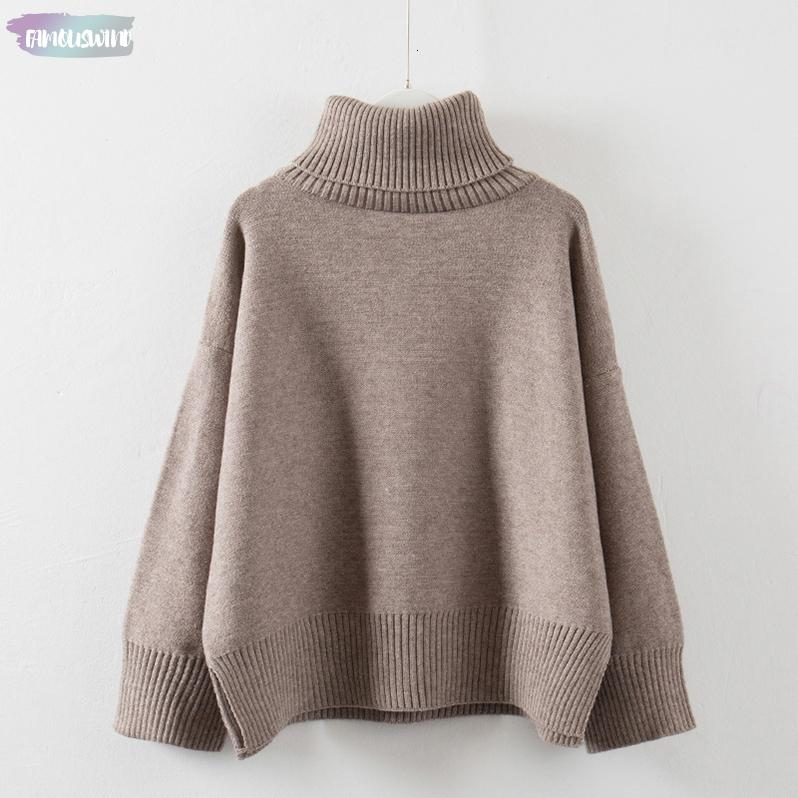 Sweater Ladies Thick Autumn Winter Long Turtleneck Slit Pullovers Casual Women