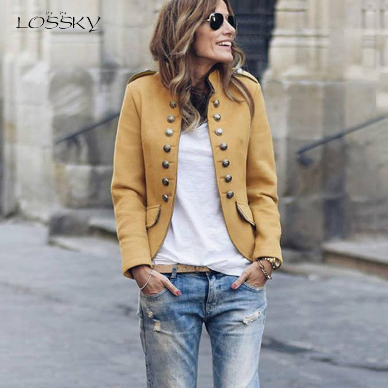 Lossky Women Short Blazer Jacket Autumn Winter Long Sleeve Suits Button Feminino Yellow Blazer Coats Ladies Clothing Streetwear
