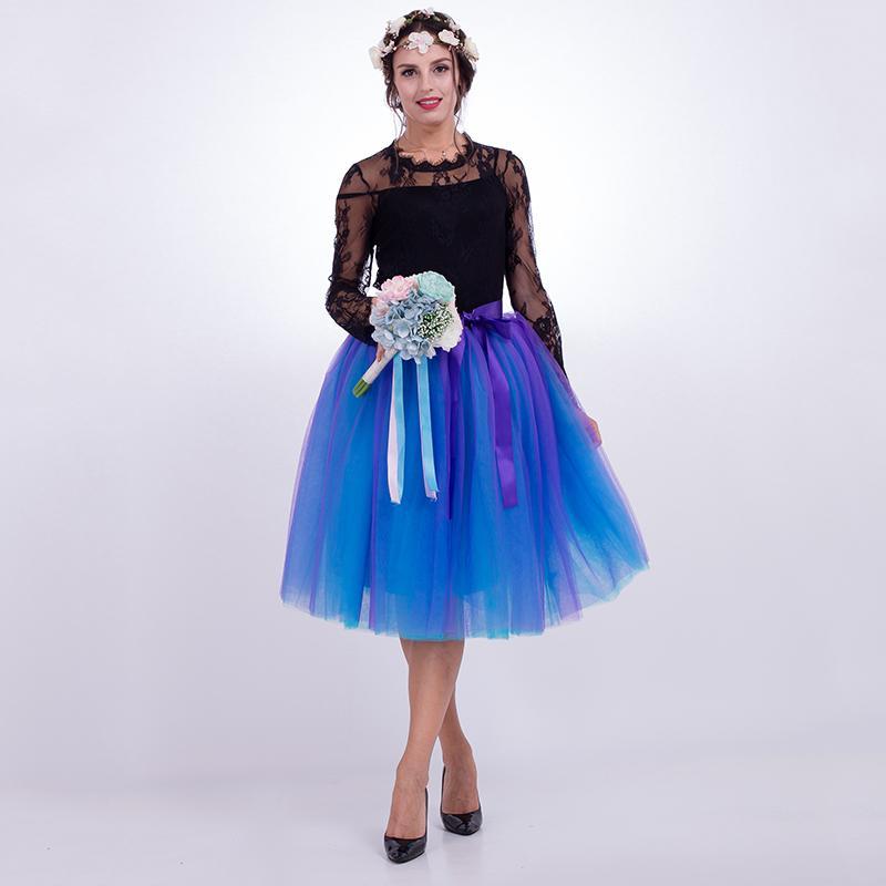 af6e5d1ef 7 Capas Midi Faldas de Tul Para Mujer Moda Plisado Falda Tutu Elegante Boda  Vintage Lolita Enagua Faldas Mujer Saias Jupe Y19043002