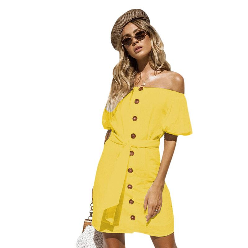 2f33ca723e Sexy Women Off Shoulder Dress Short Sleeve Front Buttons Tie Waist  Yellow Black White Dress Backless Party Holiday Beach Dress Dresses For  Sale Strapless ...