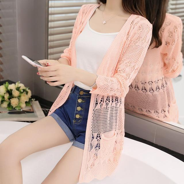 35c6869b8dba 2019 Thin Knit Cardigan Sweater Female 2018 New Spring Jacket In The Long  Section Of A Hollow Loose Shawl In Summer From Luweiha