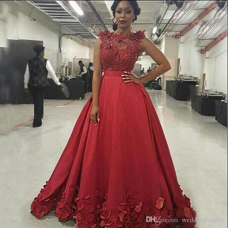 14e2ce815b906 Arabic Long Prom Dresses Sheer Bateau Neck Sleeveless 3D Floral Lace  Appliques Illusion Top Red Evening Party Gowns with Petal Embellishment