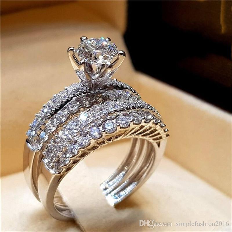 boutique de salida última selección de 2019 100% de alta calidad Conjuntos de anillos de compromiso de lujo 925 plata esterlina 5A Cz  anillos de la boda de compromiso para las mujeres hombres joyería del  partido ...
