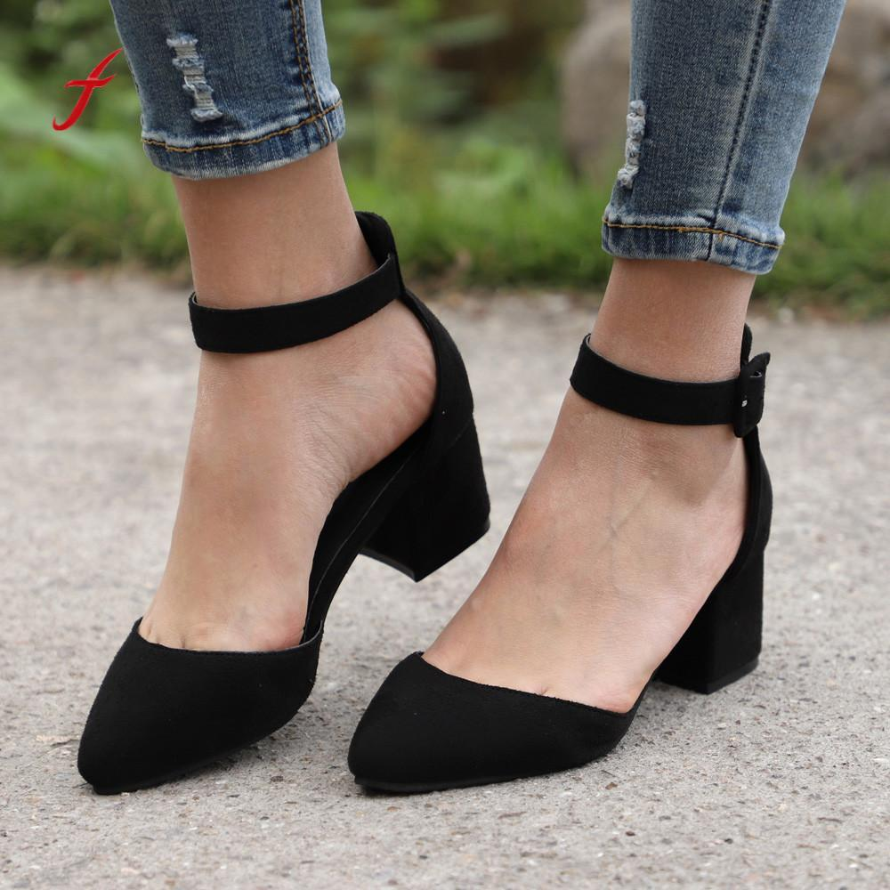66d72d586b8b8 Designer Dress Shoes 2019 Woman Suede Ankle Pointed Toe Rough With High  Heeled Ladies Single Zapatos De Mujer Women Pumps Brown Shoes Strappy Heels  From ...