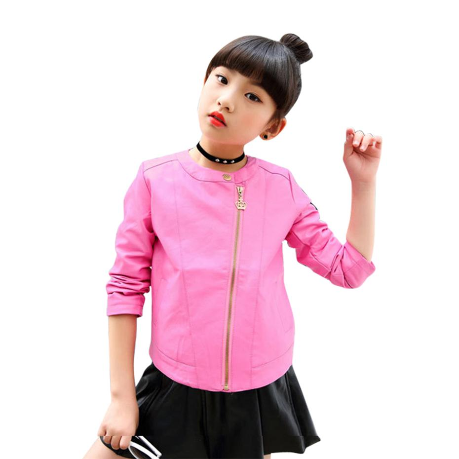 92ad60951 Girls Pu Jacket Rivet Zipper Cool Jacket Leather Clothing For Girls Teenage  Leather Jackets Outerwear Motorcycle 6 8 10 12