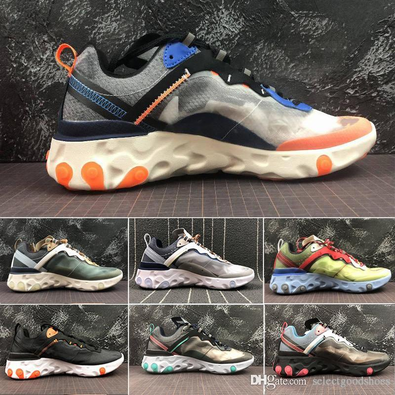 React Element 87 Undercover Men Running Shoes Sail Light Bone Blue Chill Solar Anthracite Black Women Designer Sports Sneakers Size36-45