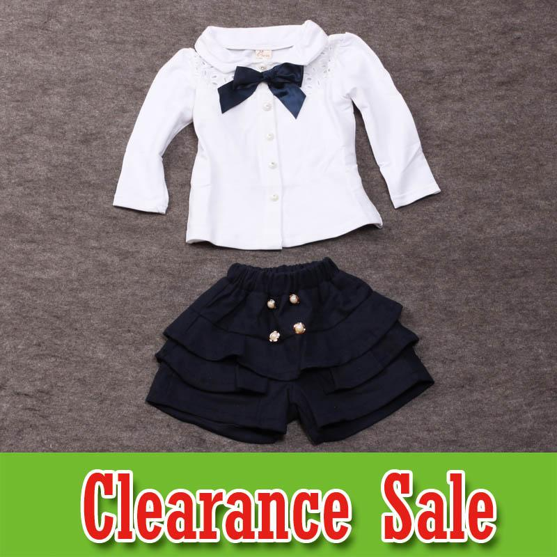 681acddfe5d Kids Designer Clothes Girls boutique Outfits preppy style Kids Sets White  shirt shorts 2pcs Children Suit girls clothing kids clothes D6