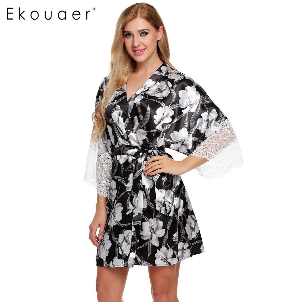 fed3d27f4 2019 Ekouaer Women Bathrobe Kimono Lace Robes Nightwear V Neck Wrap Floral  Print Belted Female Sleepwear Bathroom Robe From Tielian