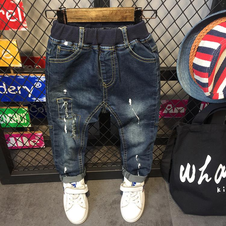 1afcc280 WNLEIGEL Kids Boys Autumn Jeans Kids Denim Dark Blue Ripped Dot Printed  Trousers Baby Fashion All Match Jeans Children Clothes Boys 16 Slim Jeans  Kids ...