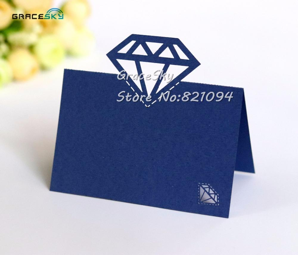 50pcs laser cut Diamond Design Name Place cards Seat Paper Wedding Invitation Table Cards for Party Table Decoration Marriage favors