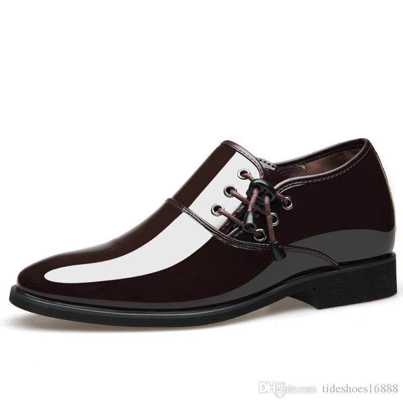 bb6f91a88e1a28 Compre Patente Oxford De Negocios Zapatos De Vestir De Aumento De Altura 5  CM Para Hombre Mocasines Formales Puntiagudos Partido De La Boda Invisible  ...