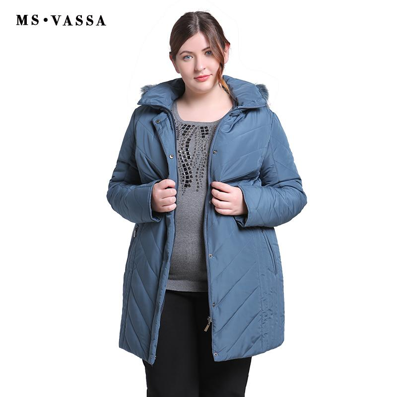 4d7b4306d MS VASSA Plus Size Women Coats 2018 New Ladies Parka Winter Jacket Women  Turn-down collar Parkas Hood with fur Big Size outwear